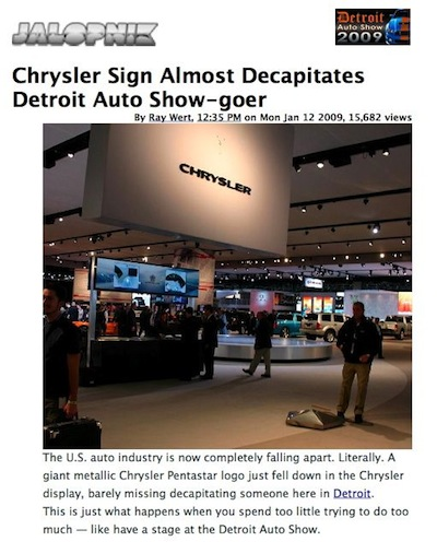Chrysler sign falls