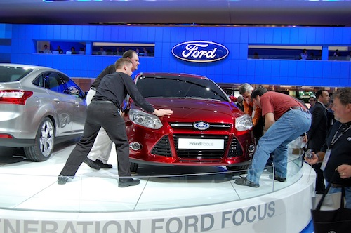 Ford Focus being pushed onto display