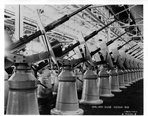 20mm Oerlikon guns coming off a Hudson Motor assembly line in Detroit