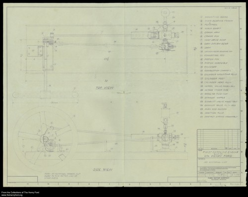 This blueprint of the kitchen sink engine was drawn up in 1944, perhaps to aid in the creation of a replica.